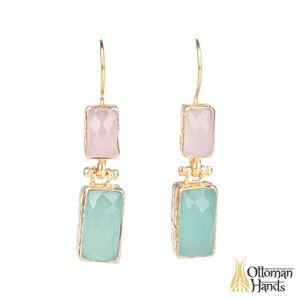 OTTOMAN HANDS rose/chalcedony drop earrings